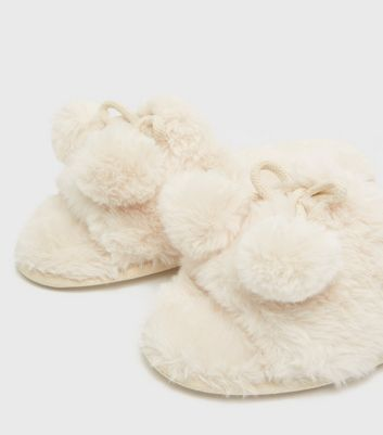 shop for Off White Faux Fur Pom Pom Slider Slippers New Look Vegan at Shopo