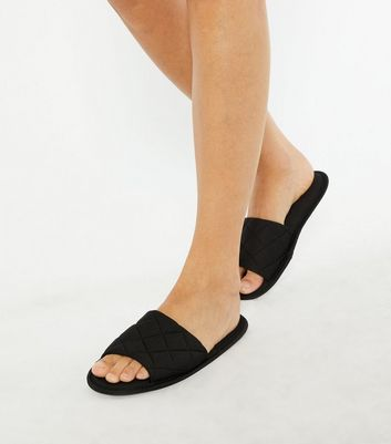 shop for Black Quilted Jersey Slider Slippers New Look Vegan at Shopo