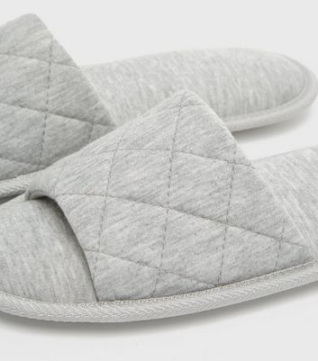 shop for Grey Quilted Jersey Slider Slippers New Look Vegan at Shopo