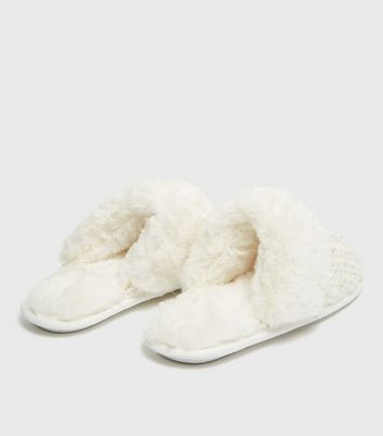 shop for Off White Sequin Knit Faux Fur Mule Slippers New Look Vegan at Shopo