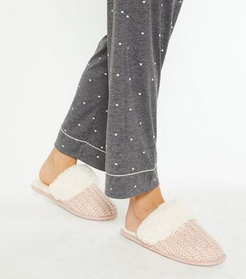 shop for Pink Sequin Knit Faux Fur Mule Slippers New Look Vegan at Shopo