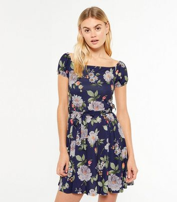 Blue Floral Puff Sleeve Mini Dress New Look