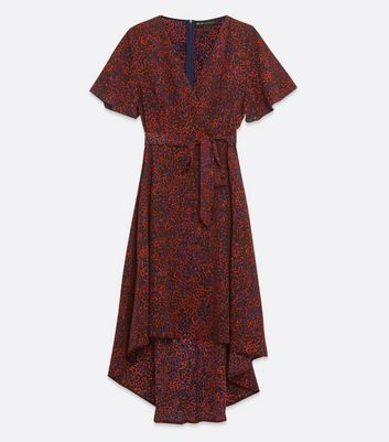Click to view product details and reviews for Mela Burgundy Animal Print Dip Hem Wrap Dress New Look.