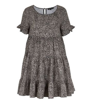 Cameo Rose Black Animal Print Tiered Smock Dress New Look