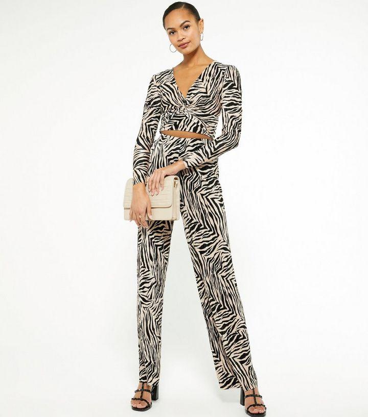 Brown Zebra Print Plissé Wide Leg Trousers