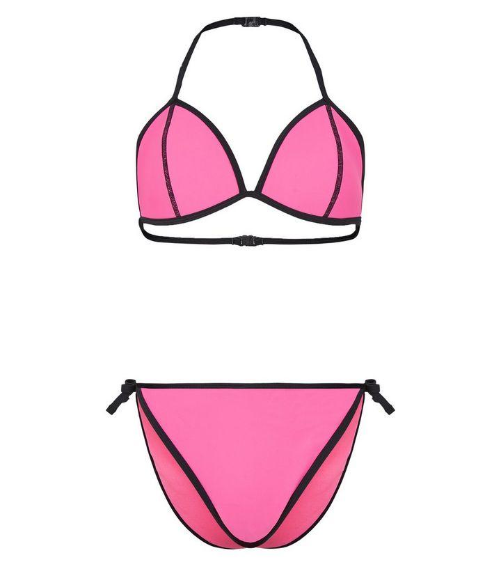 Girls Bright Pink Scuba Bikini Set