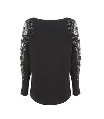 Cameo Rose Black Diamanté and Lace Jumper New Look