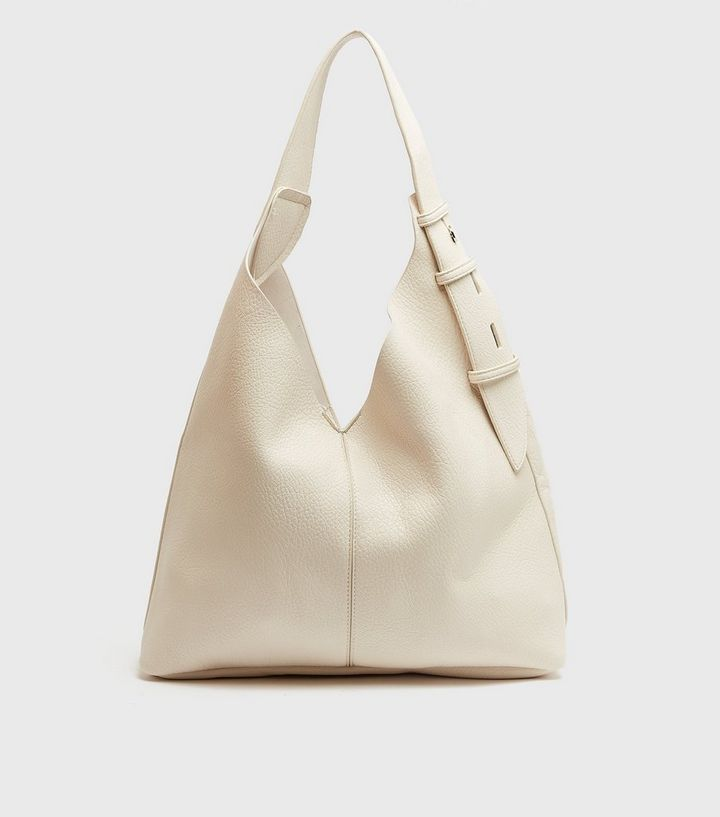 Cream Leather-Look Slouch Tote Bag