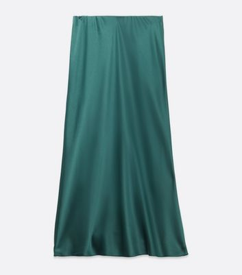 Click to view product details and reviews for Dark Green Bias Cut Satin Midi Skirt New Look.