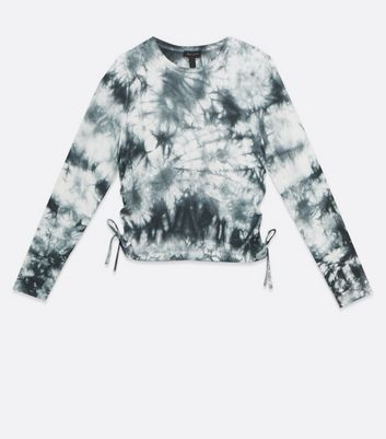 Click to view product details and reviews for Tall Grey Tie Dye Ruched Side Top New Look.