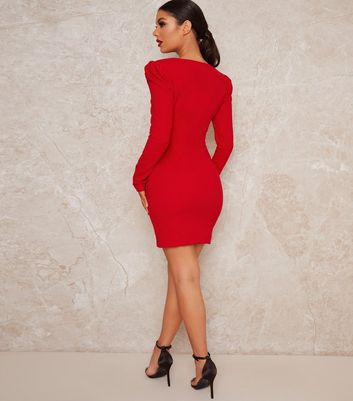 Click to view product details and reviews for Chi Chi London Red Sweetheart Puff Sleeve Bodycon Dress New Look.