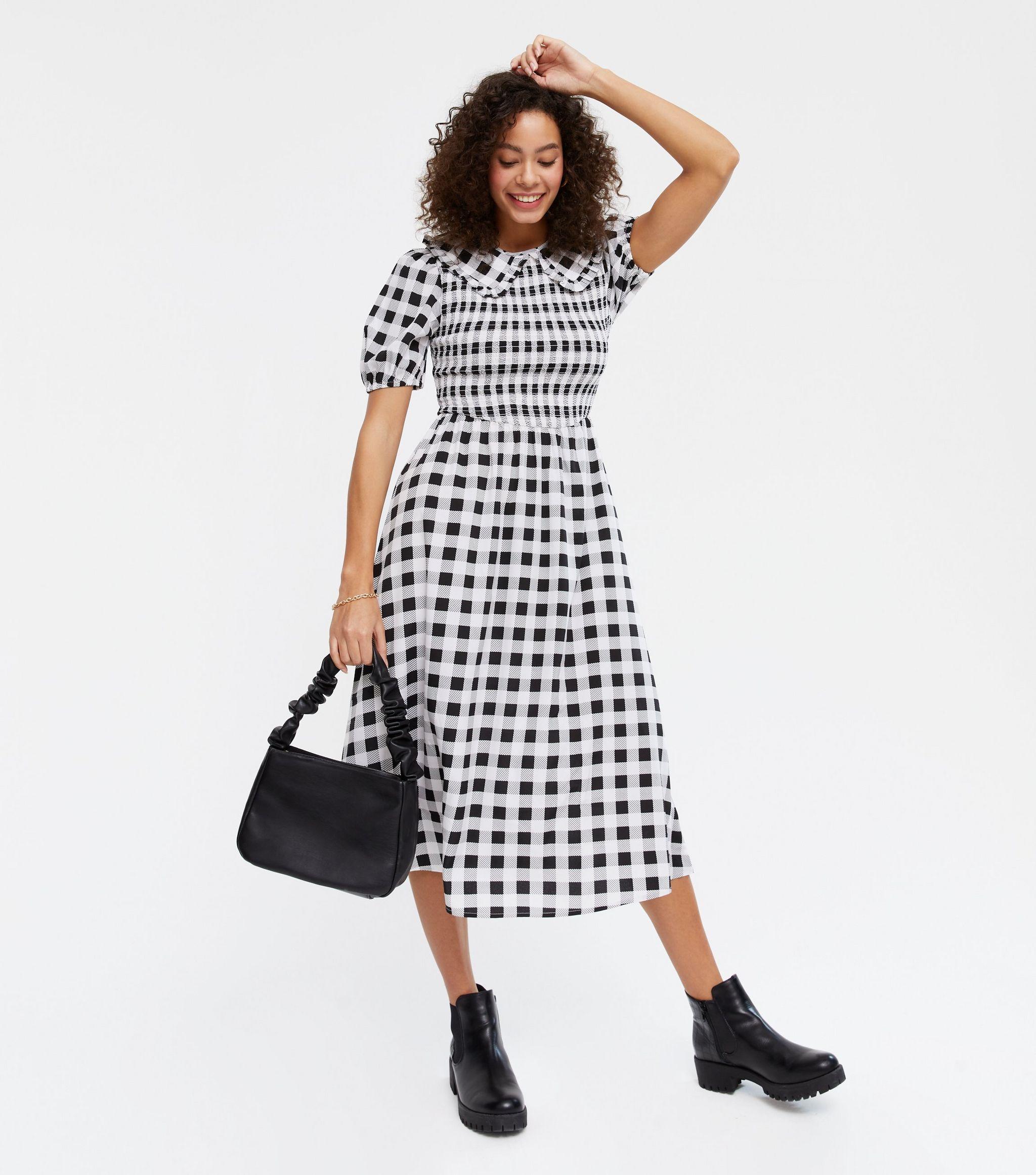 Black Gingham Collared Puff Sleeve Midi Dress new look
