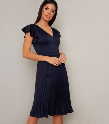 Click to view product details and reviews for Chi Chi London Navy Satin Pleated Dress New Look.
