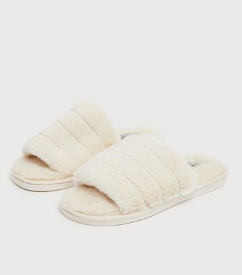 shop for Off White Fluffy Padded Faux Fur Slider Slippers New Look at Shopo