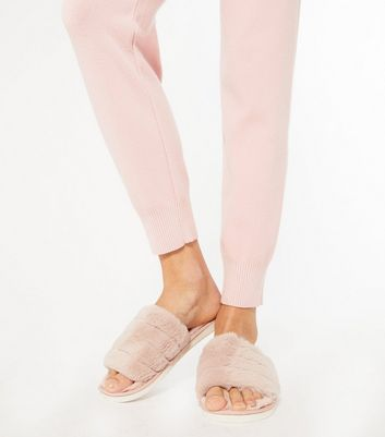 shop for Pink Fluffy Padded Faux Fur Slider Slippers New Look at Shopo