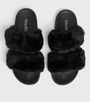 shop for Black Faux Fur Double Strap Slider Slippers New Look at Shopo