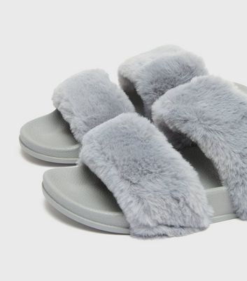 shop for Grey Faux Fur Double Strap Slider Slippers New Look at Shopo
