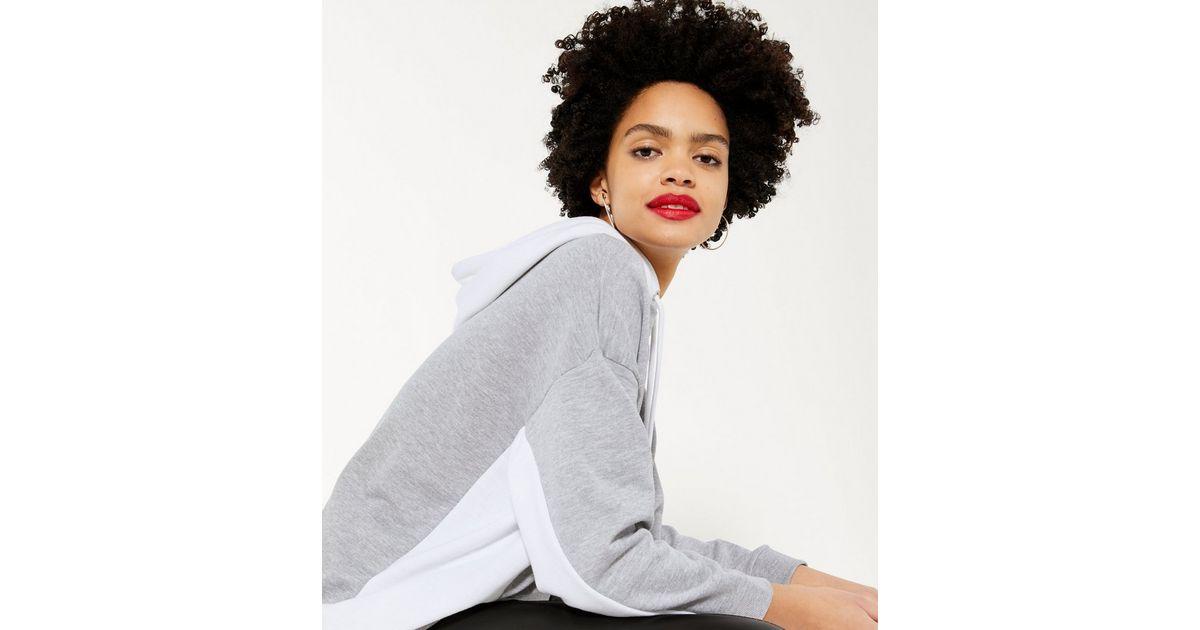 Cameo Rose Light Grey Colour Block Hoodie   New Look
