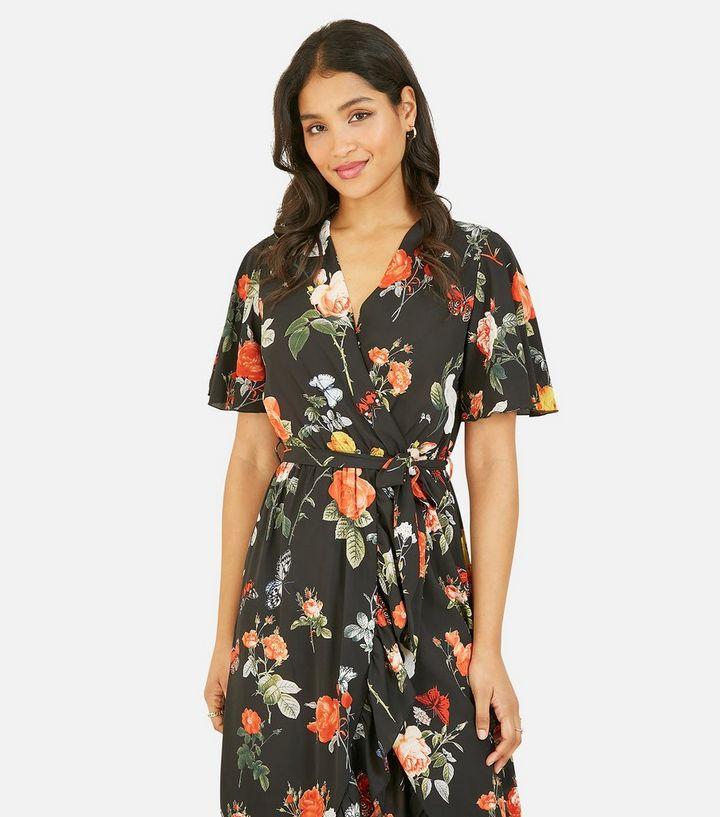Mela Black Floral Butterfly Wrap Midi Dress
