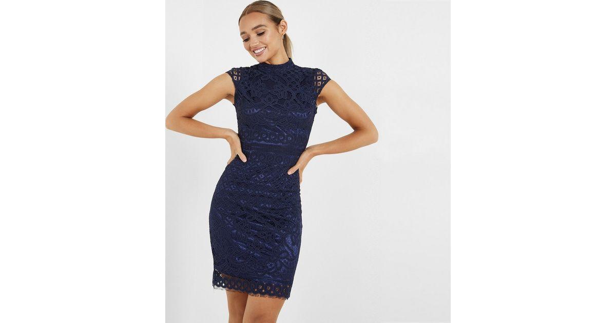 Quiz Navy Lace Bodycon Mini Dress New Look