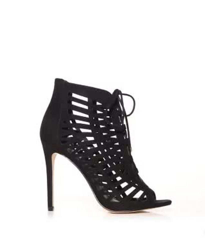 2b1ebe94e3e Black Suedette Laser Cut Out Peep Toe Ghillie Heels Add to Saved Items  Remove from Saved Items