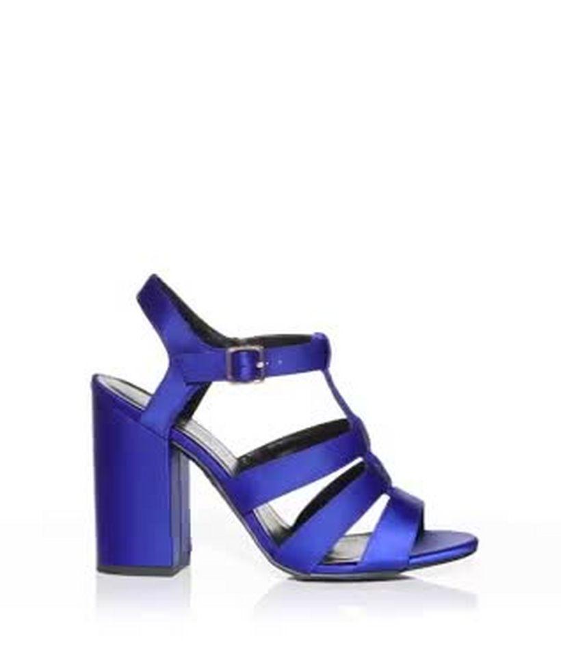 caac43a9101 Blue Satin Gladiator Block Heels